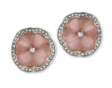 Kenneth Jay Lane Rhodium Rhinestone Pink Resin Pansy Flower Clip Earrings