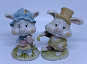 Vintage Lefton Figurines Girl & Boy Bunny Ceramic Easter Bunnies Hand Painted