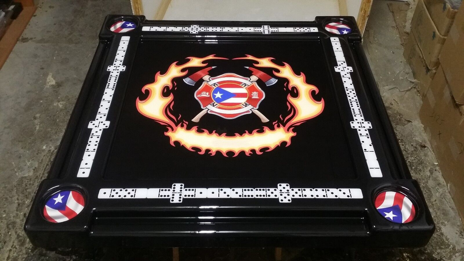 Puerto Rican Firefighter Domino Table by Domino Tables by Art