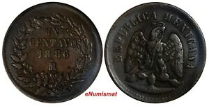 Mexico SECOND REPUBLIC Copper 1886/1 Mo 1 Centavo  SCARCE OVERDATE KM# 391.6