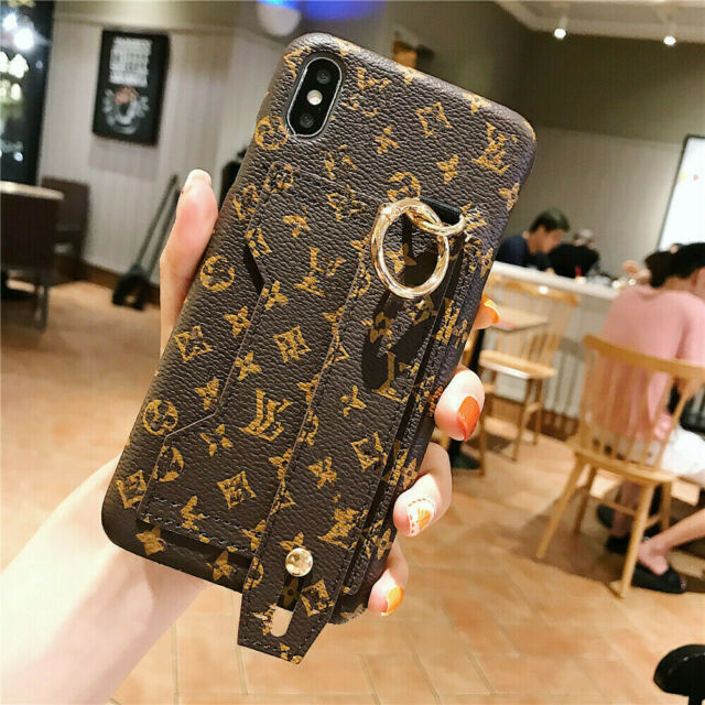 For iPhone 11 Pro Max XS 8 7s Plus Wrist Strap Card Holder PU Leather Case Cover