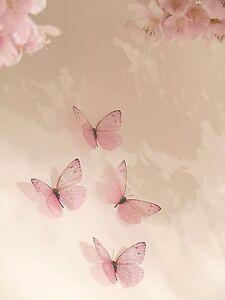 Details about 4 Pink Girls 3D Sparkling Fairy Dust Butterflies Butterfly  Bedroom Accessories