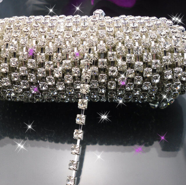 SS6-SS20 Clear glass crystal rhinestone close silver chain Applique 10 yards