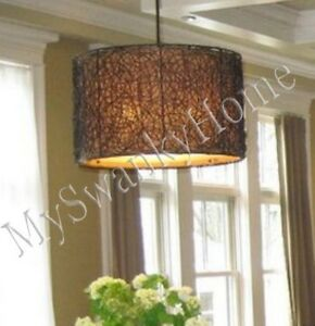 Twisted woven rattan wicker chandelier horchow hanging light drum image is loading twisted woven rattan wicker chandelier horchow hanging light aloadofball Images