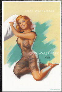 "Earl Moran Authentic Pin-Up Poster Art Print Marilyn Monroe ""Pillow Fight"" 11x17"