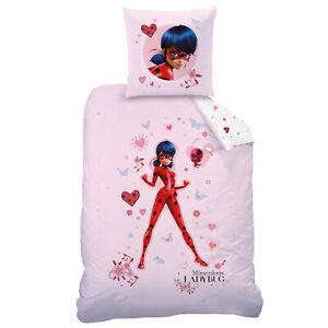 Maedchen-Flanell-Bettwaesche-Miraculous-Ladybug-Love-rosa-135-x-200-cm-Biber