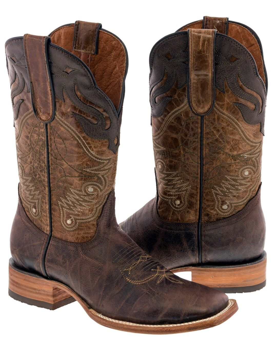 Mens Chedron braun Overlay Genuine Leather Cowboy Stiefel Western Square Toe