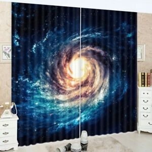 Abstract-Galaxy-Swirl-2-Panels-3D-Printed-Blockout-Drape-Curtain-Fabric-Window