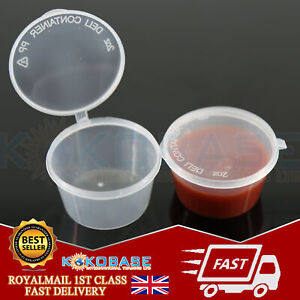 2oz-Clear-Hinged-Lid-Plastic-Sauce-Containers-Cups-Pot-Tub-Deli-Takeaway-Wax