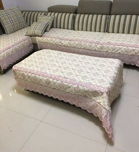 Quilted And Lace Custom Sectional Sofa Couch Slipcovers Furniture