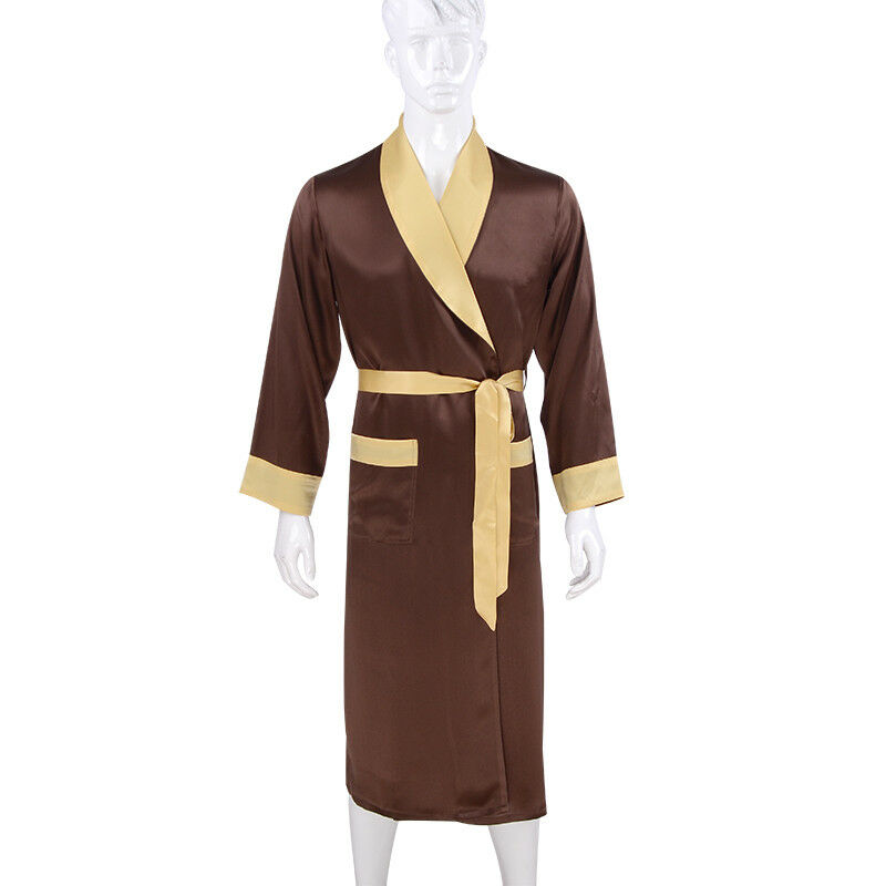 Mens 19 Momme 100 Mulberry Silk Smoking Robes Jackets