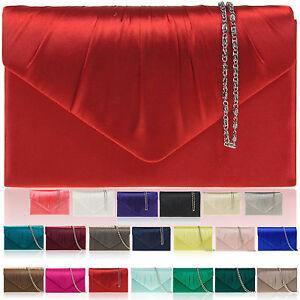 New-Women-Satin-Designer-Clutch-Bag-Bridal-Brides-Party-Ladies-Evening-Bag-UK