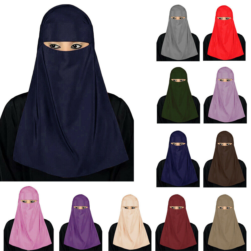 Niqab One Piece Muslim Hijab Hooded Veil Scarf Islamic Ramadan Arab Burqa Nikab