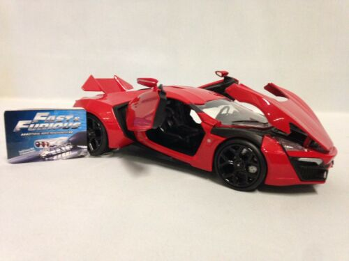 """Red 8.25/"""" Diecast 1:24 Car By Jada Toys Fast and Furious 7 LYKAN HYPERSPORT"""