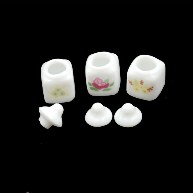 3pcs 1/12 Dollhouse Miniature Cute White Ceramic Storage Jars Kitchen HF