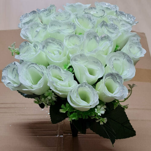24 Head Artificial Decoration Glitter Roses Real Touch Shiny Faux Silk Flowers