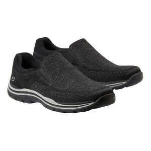 New-Skechers-Men-039-s-Gomel-Slip-On-Knit-Black-Athletic-Memory-Foam-Shoes-Pick-Size