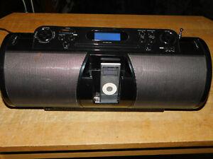 iLive Boombox Portable Docking Station CD Radio Aux Input Ipod Dock Black