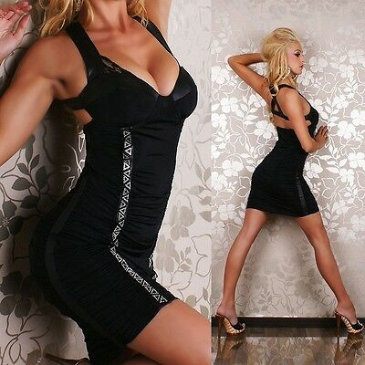 482 SEXY CLUBBING PUDDED LEATHER LOOK TRIM BODYCON MINI BLACK DRESS SIZE S & M