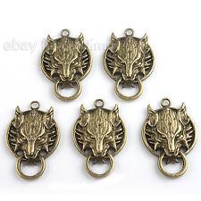 50pcs Bronze Wolf Kopf Anhänger Legierung Pendant für Halskette 140509