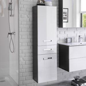 Details zu Hochschrank Bad Hängeschrank Melissa 2-türig Badezimmer grau  weiß Hochglanz
