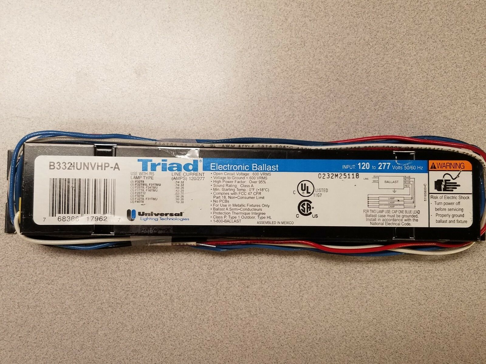 B332iunvhp-a Triad Electronic Ballast for 3 F32t8 Lamp 120-277v on