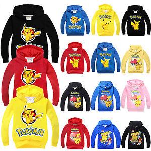 Enfants-Garcons-Filles-Pokemon-Pikachu-Sweat-a-Capuche-Pull-Decontracte-a