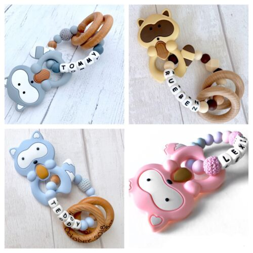 Personalised Teething Ring Silicone Teether Toy Stocking Filler Baby Shower Gift