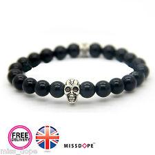 NEW Silver Skull Black Stone Bead Bracelet Womens Mens Golden Gothic Bangle UK