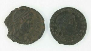 Ancient-Roman-2-Coin-Lot-Emperor-Constantine-the-Great-amp-Emperor-Valens