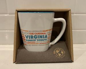 NEW Dunkin Donut Virginia DD Destinations Coffee Tea Cup Mug 12 oz RARE
