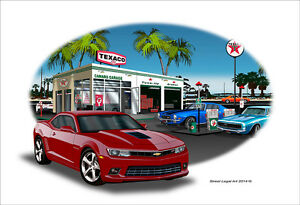 2014 SS Camaro Garage Muscle Car Art Print - 10 colors