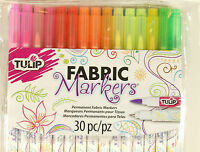 Tulip Fabric Markers Dual Tip 30 Pack Permanent Ink