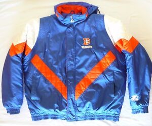 size 40 0d3fe 494b3 Details about Denver Broncos NFL Blue Starter Winter Coat * Old Logo, Large  Adult Unisex * EUC