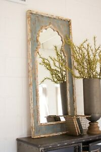Details About Painted Wood Framed Mirror Full Length Weathered Rustic Distressed Hand Painted