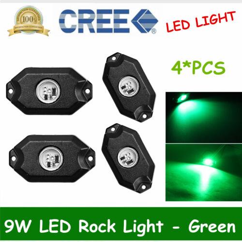 "4X 2/"" 9W LED Rock Light JEEP Offroad Truck Boat Under Body Trail Rig Light Green"