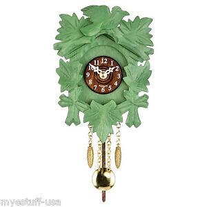 Modern Black Forest Quartz Pendulum Clock - Cuckoo Chime - 5.5 inch - Green