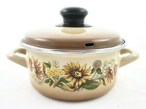 Vintage-2-Piece-Enamelware-Round-Cookware-Pot-Pan-Handles-Sunflowers-Brown-1-QT