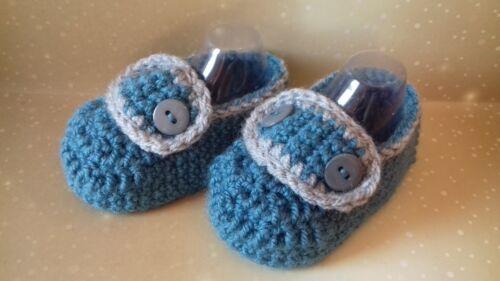 Handmade crochet//Tricot Bébé Garçons Mocassin Style Chaussures//Chaussons 4 Tailles