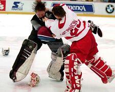 PATRICK ROY MIKE VERNON HOCKEY FIGHT CANADIENS FLAMES - 8X10 NHL PHOTO (FB-441)
