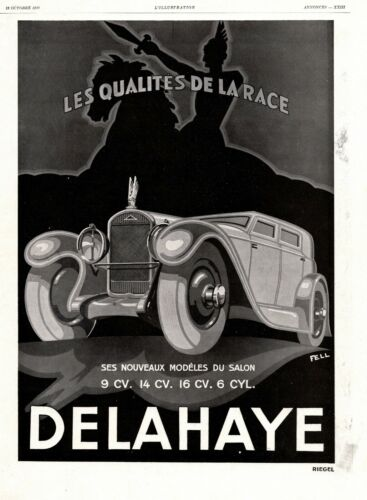 DELAHAYE French Car Original French Vintage Ad 1929 FELL