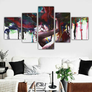 Psychedelic Abstract Couple Hug 5 Pcs Canvas Wall Art Home Decorating Poster
