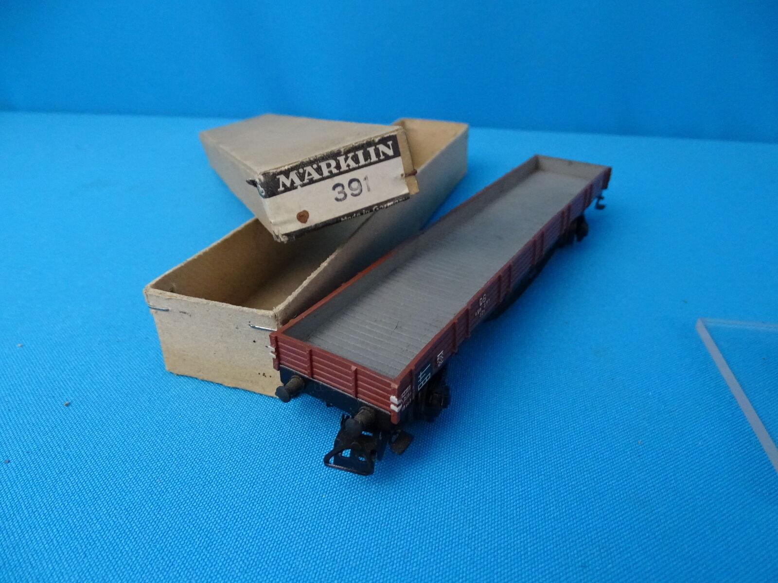 Marklin 391 DB Large 4 axled flat car Tin plate vers. 8 in OVP