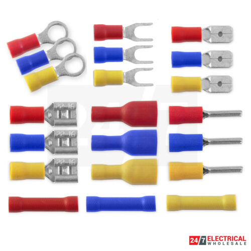 Insulated Crimp Terminals Wire Cable Red Blue Yellow Ring Spade Fork Butt Pin
