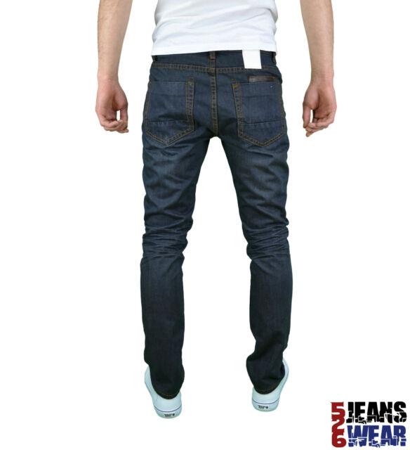 Soulstar Mens Branded Fashion Vintage Darkwash Slim Fit Straight Leg Jeans, BNWT