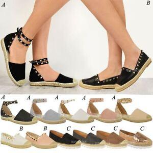 1e0789ed363 Image is loading Womens-Ladies-Espadrilles-Flat-Summer-Sandals-Studded- Designer-