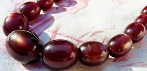 Ancien Collier Vintage Perles De BakÉlite De Couleur Ambre Miel IrisÉ De 52 Gr