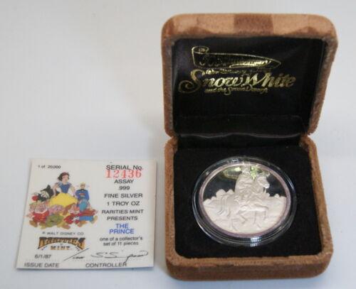 50th Anniversary Disney 1987 SNOW WHITE PRINCE 1 Troy Oz Proof Silver Round COA