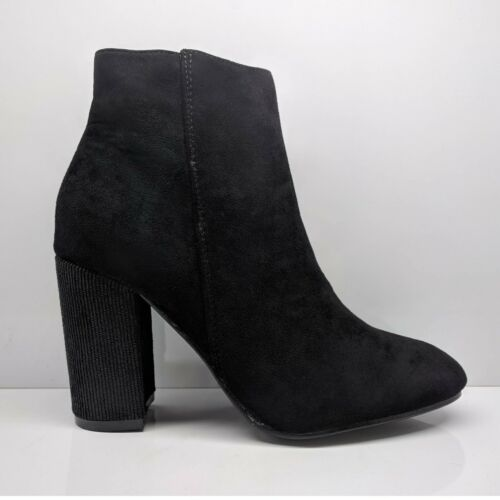 WOMENS LADIES BLACK SUEDE ANKLE BOOTS WINTER CHUNKY BLOCK HIGH HEELS SHOES SIZE