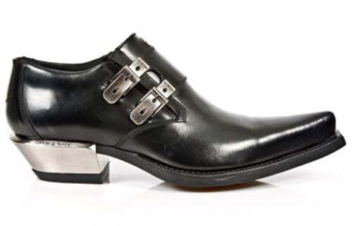 Black Metallic Steel West Shoes New Heel Buckle Leather 7934 Newrock Rock s1 CXSWw4xq